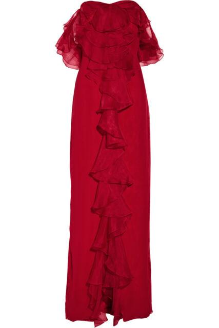 f088c6c993 Marchesa Notte Red Ruffle Silk Chiffon Gown (10) | eBay
