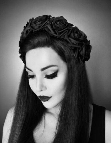 Restyle Gothic Haarreif Headpiece Roses Haarband Haarschmuck Haarreifen  Pin Up