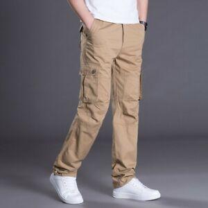 Los Monos De Trabajo Larga Para Hombre Pantalones Algodon Pantalones Tacticos Cintura Elastica Bolsillos Ebay
