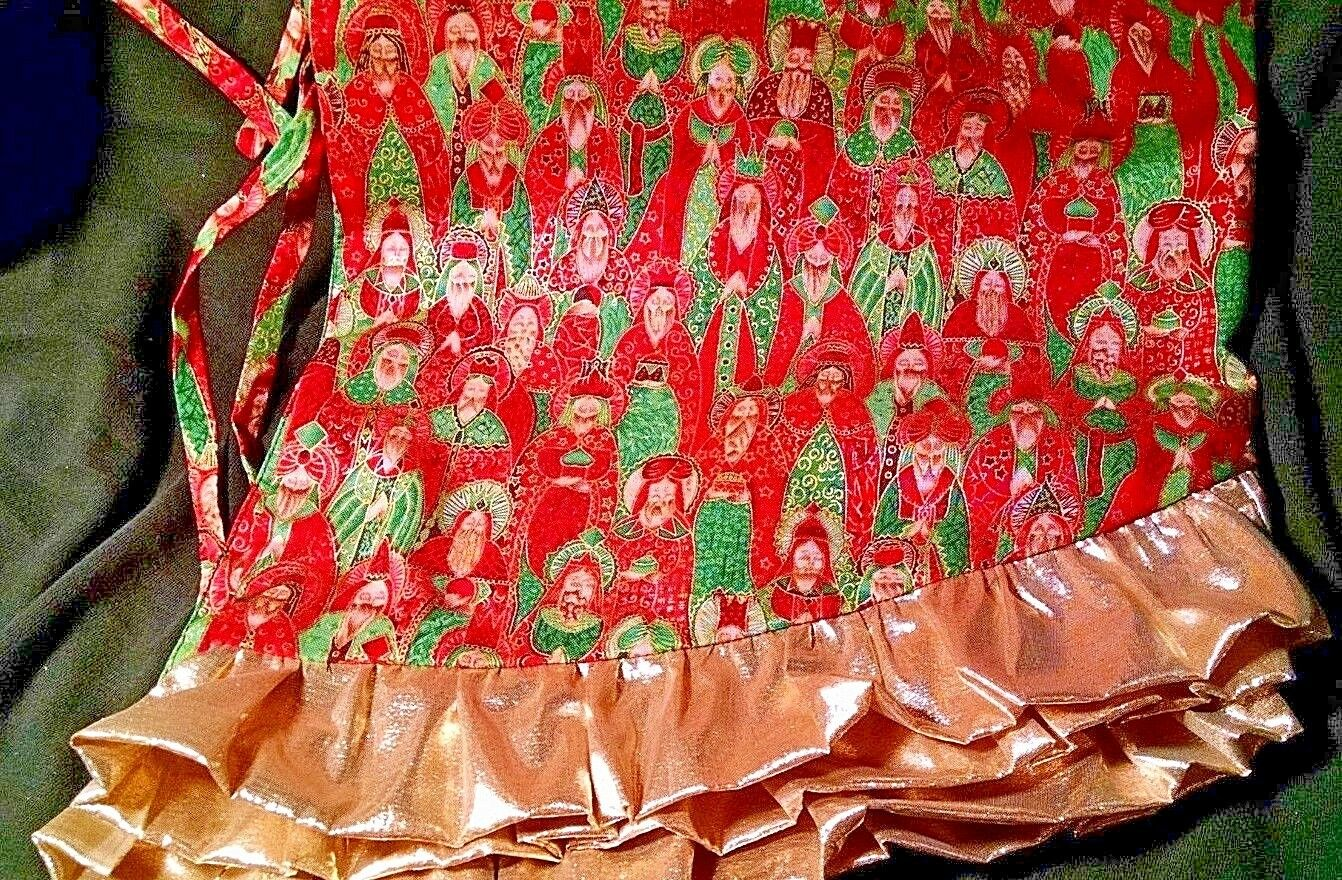 Hand-Made Christmas Tree Skirt - Reversible - 3 3 3 Wise Men Theme - rot Gold Trim b21821