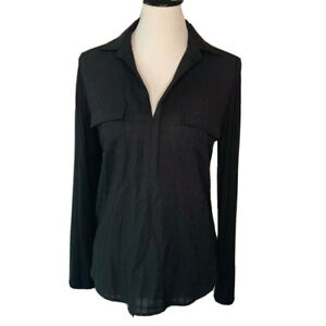 Skies-Are-Blue-Womens-Button-Up-Shirt-Black-Check-Long-Sleeve-Roll-Tab-Pockets-S