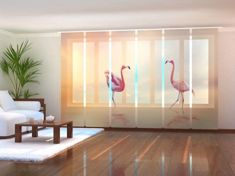 Fotogardine flamingos cortina de paneles SANELA cortina con foto a medida
