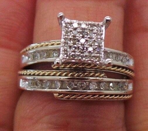 STUNNING 10K WG DIAMOND CLUSTER BRIDAL SET SIZE 6.75  .35 CARAT TW  B55201