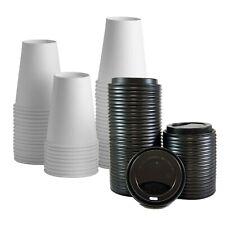 Disposable Paper Coffee Cups With Lids 50 Sets Plain White 8oz 12oz 16oz