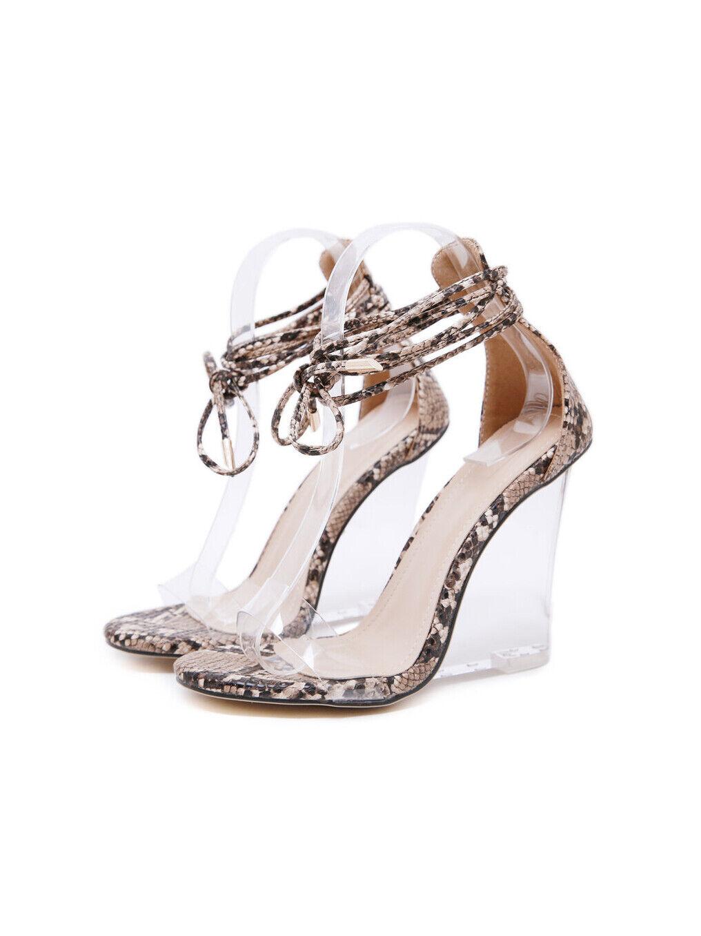Sandalias Elegante Cuero Sintético Elegante Beige Transparente Cuña 12cm cw202