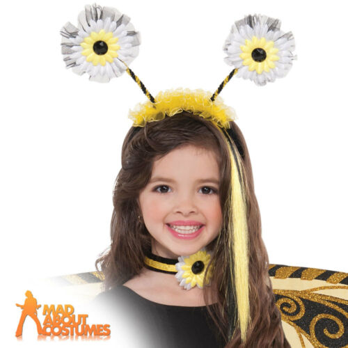 Girls Bumble Bee Fairy Head Boppers Girls Insect Fancy Dress Accessory New