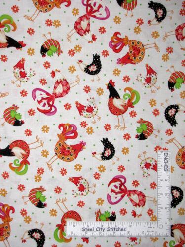 Rooster Chicken Farm Bird Daisy Toss Cream Cotton Fabric QT Pecking Order Yard