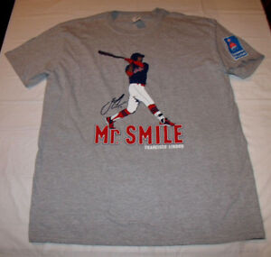 new style 835e3 83ca2 Details about Francisco Lindor Mr. Smile Cleveland Indians Men's XL Gray  T-Shirt 2018 SGA