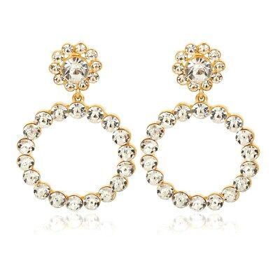 Trendy Women Crystal Pearl Circle Statement Drop Earrings Dangle Wedding Gifts