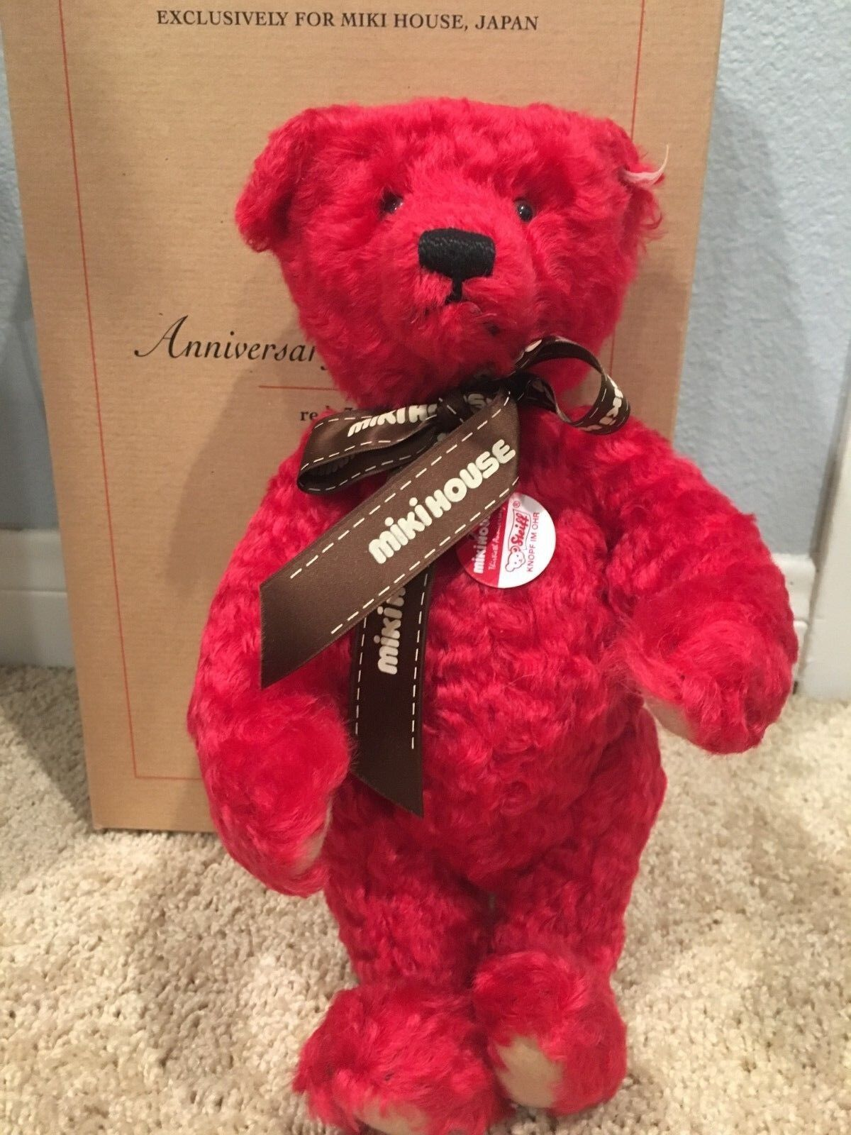 Steiff Miki House 30th Anniversary rosso Bear 2001 Japan Limited 1500