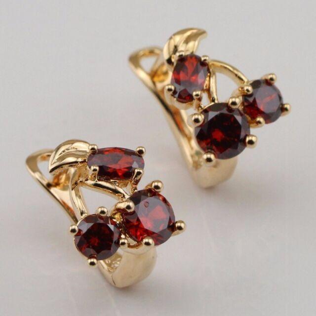 Amazing Red Garnet Fashion Jewelry Gift Gold Filled Huggie Earrings er1182