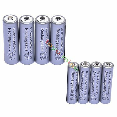 4 AA 3000mAh + 4 AAA 1800mAh 1.2V NI-MH Rechargeable Battery 2A 3A Grey Cell