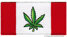 MARIJUANA LEAF CANADIAN FLAG PATCH CANADA GAG GIFT EMBROIDERED IRON-ON POT BC