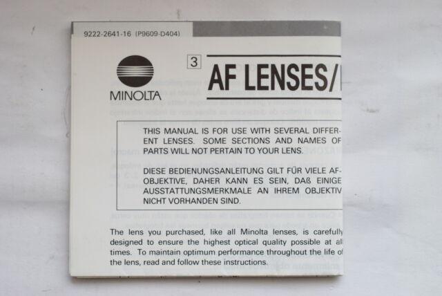MINOLTA AF 50mm F2.8  & AF 100mm F2.8 & AF 50mm f3.5 MANUAL