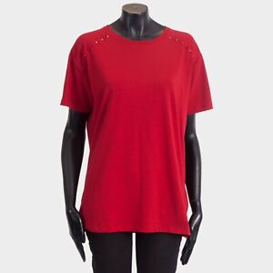 VALENTINO-790-Rockstud-Untitled-Rosso-Crewneck-Tshirt-In-Red-Cotton-Jersey