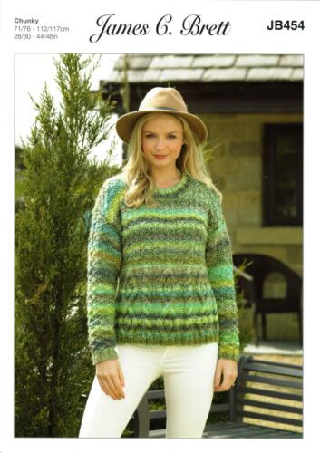 James C Brett JB454 Knitting Pattern Womens Cable Sweater in Marble Chunky