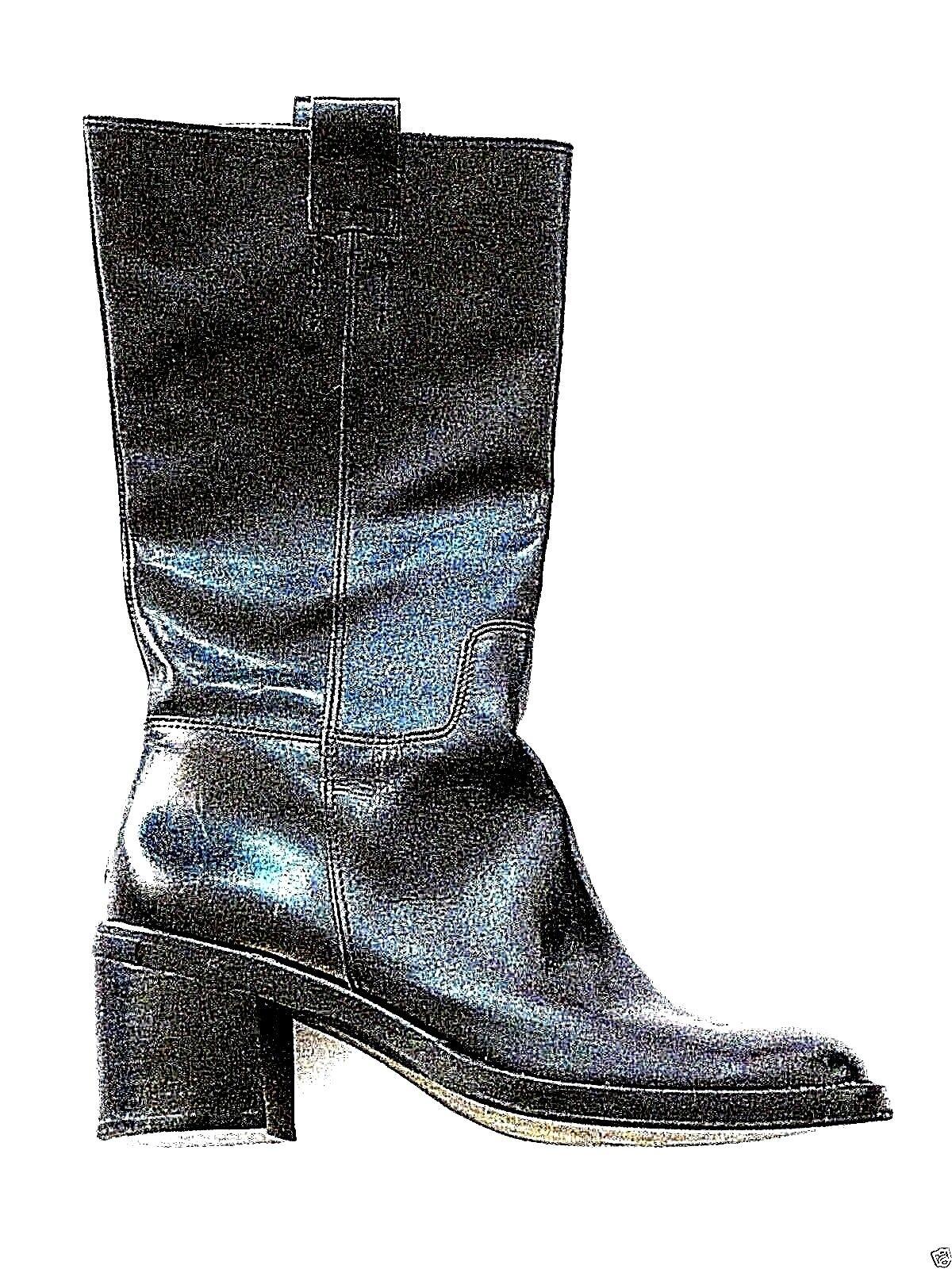 Pristine BANANA REPUBLIC black genuine leather mid calf boots 7.5 8 $175+