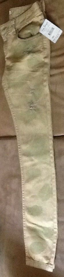 NEW FREE PEOPLE SKINNY CAMO CAMOUFLAGE RIPPED DENIM JEANS 25