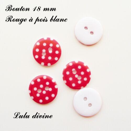 Rouge à pois blanc Lot de 5 Boutons Rond à 2 trous de 18 mm