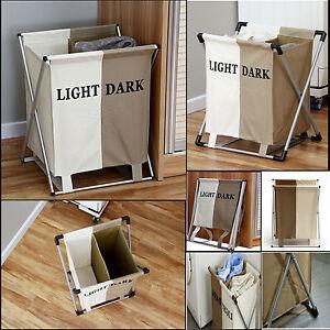 2 Section Laundry Basket Cloth Storage Bin Foldable Light Dark Bag Hamper New Ebay