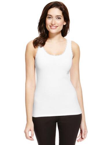 12 14 16 faMouS store white cotton rich lace trim vest cami in size 10