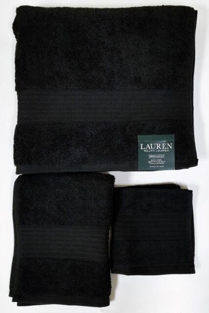 NEW RALPH LAUREN GREENWICH 3 PC SET BLACK,100% COTTON BATH+HAND+WASH CLOTH TOWEL