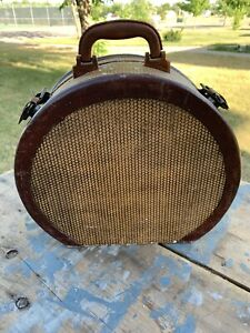 Vintage Suitcase Hat Box Carry On Photo Prop Decor Twill Tweed Luggage