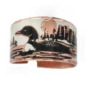 Solid-Copper-Ring-Loon-Lake-Silver-Plated-Handmade-Jewelry-Adjustable-Size-Band