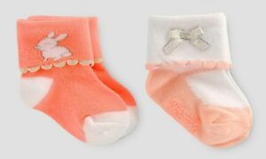 Baby girls socks easter bunny rabbit socks 3 pairs 90/% soft Cotton 0 to18 months