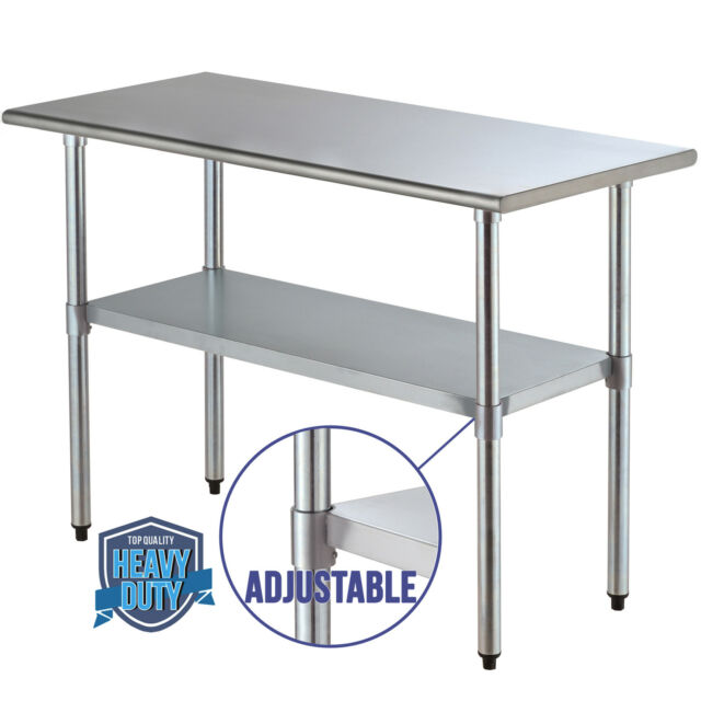 Adjustable Work Table Food Prep Commercial Stainless Steel Kitchen  Restaurant