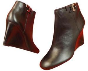 d333a3930 NIB TORY BURCH Lowell Tumbled Vitello Leather Reva Wedge zip Ankle ...