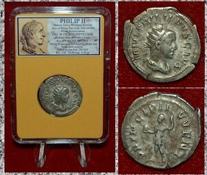 Ancient-Coin-PHILIP-II-Standing-On-Reverse-With-Globe-Silver-Antoninianus-Rare