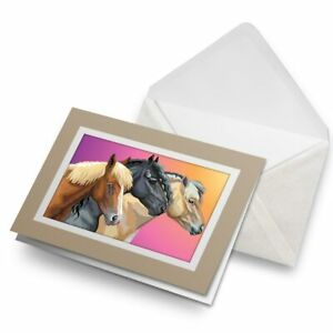 Greetings-Card-Biege-Trio-of-Horses-Pony-Riding-21698