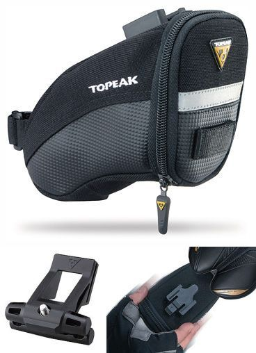 Topeak Medium Aero Wedge TC2261B Bike Seat Bag Saddle Pack QR Straps Black