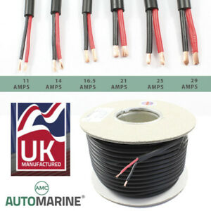 TWIN-2-Core-PVC-Cable-12v-24v-Thin-Wall-Wire-Automotive-Red-Black-ROUND-Profile