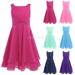 viel rabatt genießen Großhändler heiße neue Produkte Details zu Mädchen Kinder Ärmellos Chiffon Kleid Brautjungfernkleider Party  Sommer Kleider