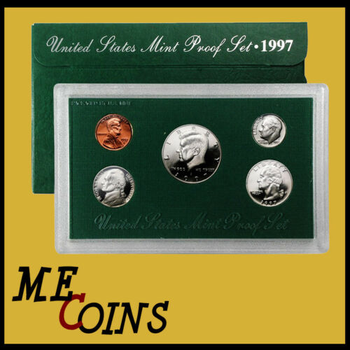 1997 S 5 COINS! US MINT PROOF SET WITH BOX /& COA