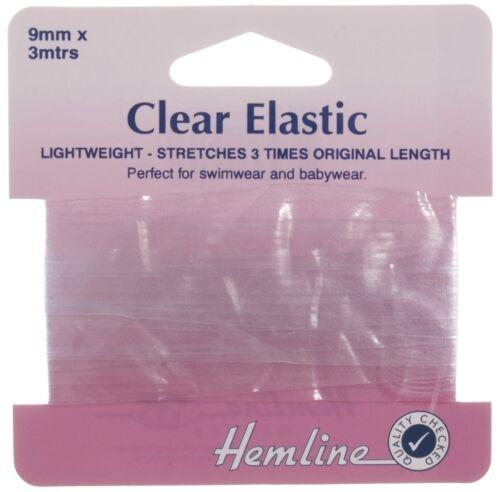 Hemline Clear Invisible Swimwear Bikini Elastic Repair Straps 9mm x 3 Metres
