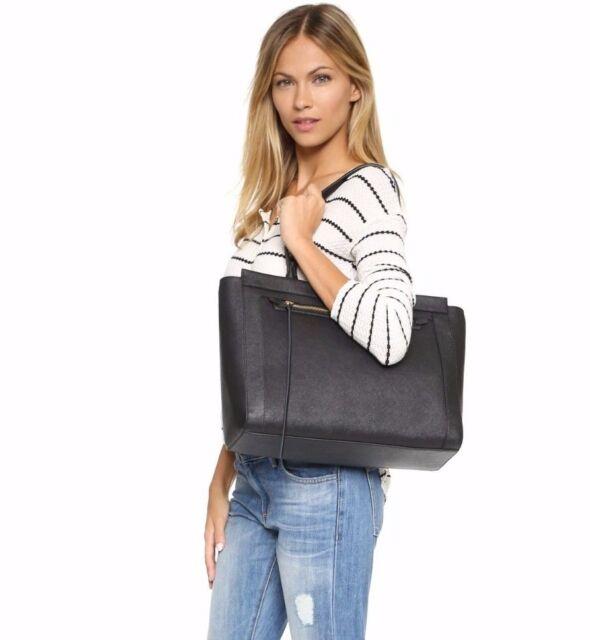 rebecca minkoff monroe tote saffiano leather purse shopper black ebay