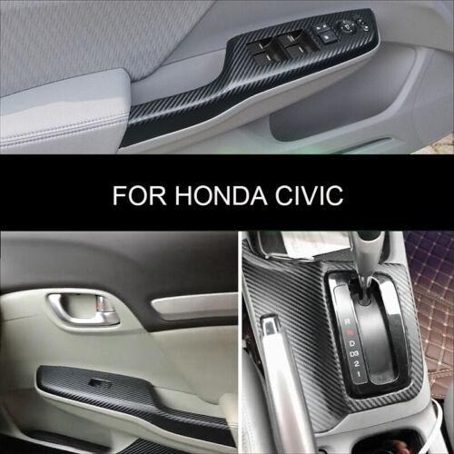 For Honda Civic 2012-2014 Interior Carbon Fiber Decal Sticker Wrap Trim Dash Kit