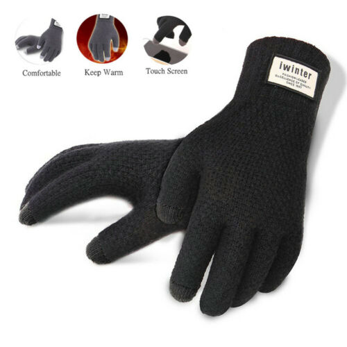 Men Women Full Finger Touch Screen Winter Warm Kint Fleece Lined Thermal Gloves