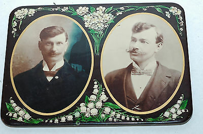 Antique Celluloid Photographic Portrait of Two Brothers on Metal CIrca 1910-1920
