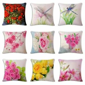 Colorful-Flowers-Floral-Quote-Letters-Linen-Pillow-Case-Cushion-Cover-18-034-x18