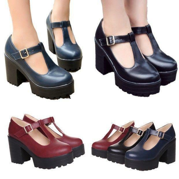 Womens Chunky Heels Ankle T-Strap Platform Creeper Mary Jane Office shoes pumps