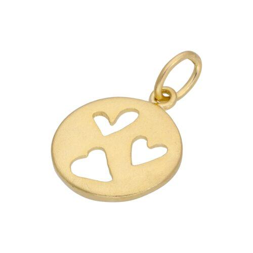 Chapado en Oro Pequeño Plata Encanto Triple Corazón