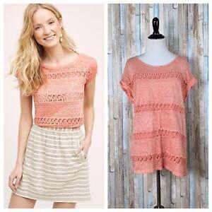 Anthropologie-L-Akemi-Kin-Burnout-Lattice-Lace-Stripe-Linen-Knit-Tee-T-Shirt-Top