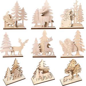 Fj-in-Legno-Babbo-Natale-Pupazzo-di-Neve-Stand-Creazioni-Tavolo-Ornamento