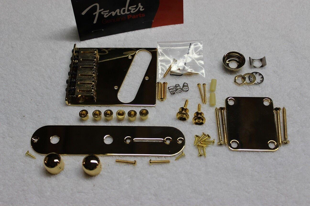 FENDER American Telecaster Gold Body Hardware Set Modern 6sattle Bridge USA Tele