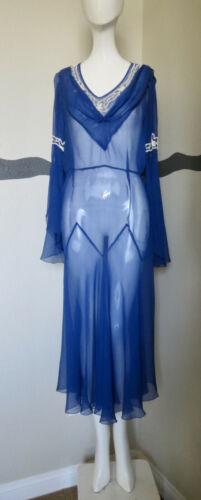 Vintage 1930s Dress Silk Chiffon Beaded Gatsbyesqu