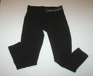 Calvin Klein Performance Black  Athletic Crop Leggings Women's S Logo Waistband